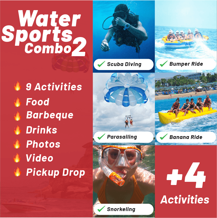 Water Sports Combo Package 2 Goa by BookAnywhere Goa - Activites Include Scuaba Diving, Bumper Ride, Parasailing, Banana Ride, Snorkeling, Dolphin Spotting and many more.