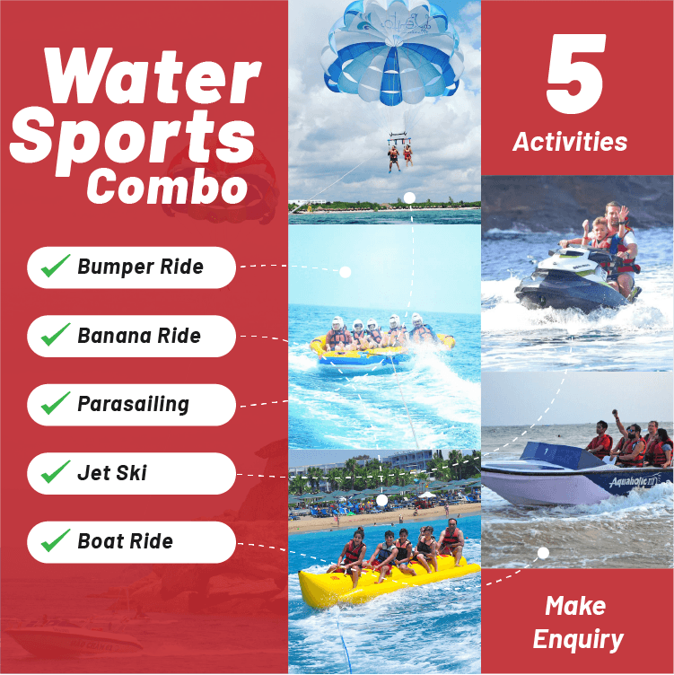 Water Sports Combo Package Goa by BookAnywhere Goa - Activities Includes Bumper Ride, Banana Ride, Parasailing, Jet Ski & Boat Ride