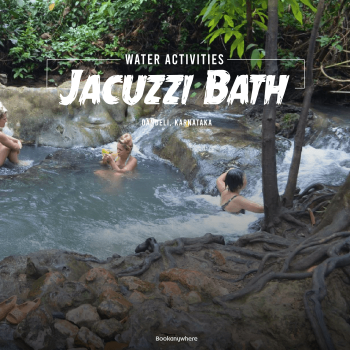 jacuzzi bath in the kali river water stream in dandeli jungle resort packages